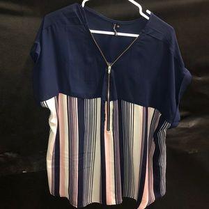 EUC half zip front blouse